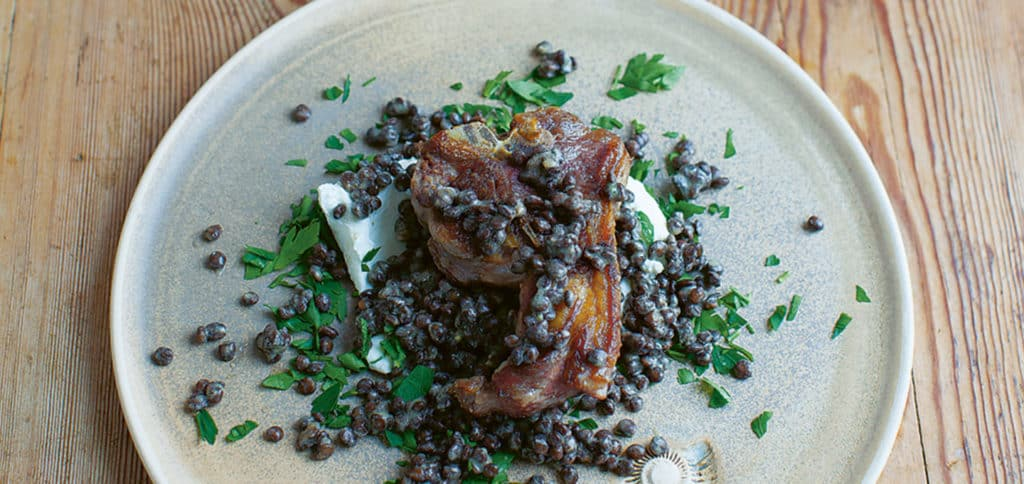 Kid Goat Meat, Lentil and Labneh Salad Recipe
