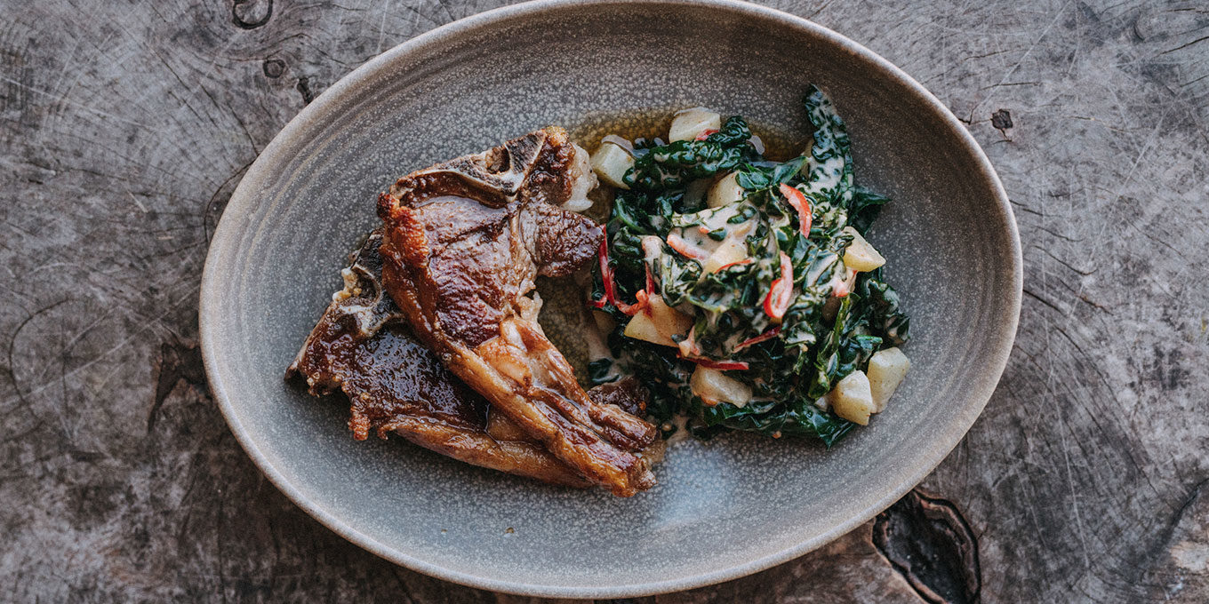 Goat chops with cavolo nero, chilli and peanut by Gelf Alderson